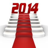 New year 2014 on a red carpet - a 3d image Royalty Free Stock Photo