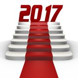 New year 2017 on a red carpet - a 3d image Royalty Free Stock Image