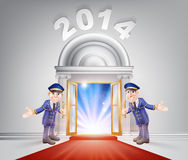 New Year 2014 Red Carpet. New Year Door 2014 concept of a doormen holding open a red carpet entrance to the new year with light streaming through it Royalty Free Stock Photos