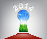 New Year Red Carpet 2014 Keyhole. A conceptual illustration of a New Year 2014 keyhole entrance opening onto a field of lush green grass. Concept for a new life Royalty Free Stock Images