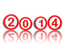New year 2014 in red circles Royalty Free Stock Photos