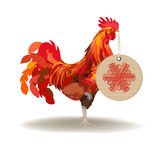 New Year Red. Isolated red rooster with Christmas ball stock illustration