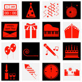 New year red color icons Stock Image