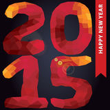 New year 2015.Red colors polygons numbers in square Royalty Free Stock Photos