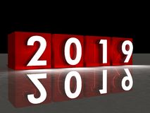 2019 new year red cube and in background royalty free illustration