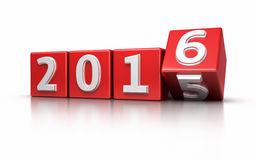 New Year 2016. Red cube render isolated on white and clipping path Stock Photos