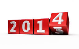 New Year 2014. Red cube render  on white and clipping path Royalty Free Stock Photography