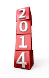 New Year 2014. Red cube render  on white and clipping path Royalty Free Stock Images