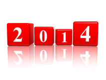 New year 2014 in red cubes. New year 2014 in 3d red cubes with white ciphers Stock Image