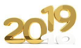 New year 2019 and 2018 red 3d render. Design Stock Image