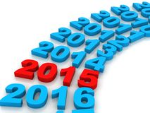 New Year 2015 red. 3D Render of the new year 2014 and other years Stock Photos