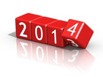 New year 2014. On red dices Royalty Free Stock Photos