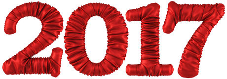 New 2017 year from red fabric Stock Images