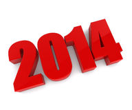 New 2014 year red figures. On white background Stock Photo