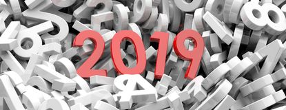2019 New year. Red 2019  figures on white numbers background, banner. 3d illustration. 2019 New year. Red 2019  figures on white numbers heap background, banner Royalty Free Stock Images