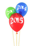 New Year 2015. And red green blue balloons render (isolated on white and clipping path Royalty Free Stock Image