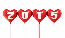 New Year 2015. And red heart balloons render (isolated on white and clipping path royalty free illustration