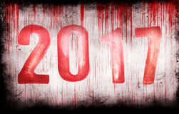New Year red numbers and bloody grungy wall Stock Photo