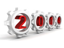 New 2014 year red numbers in connect work gear wheels. 3d royalty free illustration