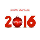 New Year 2016 red numbers. On a white background Royalty Free Stock Photo
