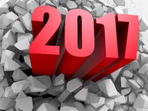 New Year 2017 red numders from explosion white wall. 3d render illustration Stock Images