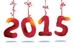 New year 2015.Red polygons numbers  hang on ribbons Stock Images
