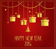 New Year red poster. Hanging gold presents. Vector illustration Stock Image