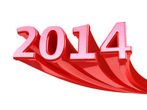 New Year 2014. Red render (isolated on white and clipping path Royalty Free Stock Images