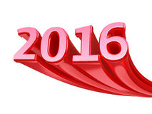New Year 2016. Red render (isolated on white and clipping path Royalty Free Stock Image