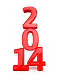 New Year 2014. Red render ( on white and clipping path royalty free illustration