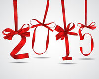 New year. Red ribbons greeting card Stock Image