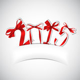 New year. Red ribbons greeting card stock illustration