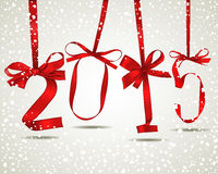New year. Red ribbons greeting card Royalty Free Stock Image