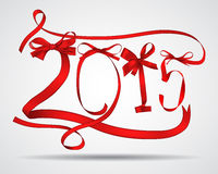 New year. Red ribbons greeting card Royalty Free Stock Photos