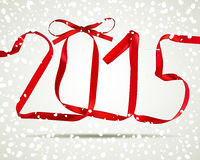 New year. Red ribbons greeting card Royalty Free Stock Images