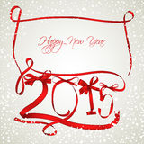 New Year. Red ribbons with snowfall Royalty Free Stock Images