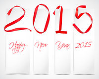 New Year. Red ribbons with white banners vector illustration