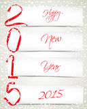 New Year. Red ribbons with white paper banners and snowfall Stock Photos
