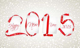 New Year. Red ribbons with white paper cards and snowfall royalty free illustration
