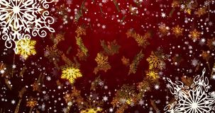 New Year red seamless loopable background with golden snowflakes 4k. New Year red seamless loopable background with golden snowflakes, Loop, 4K