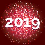 New year 2019, fancy red glitter vector stock image