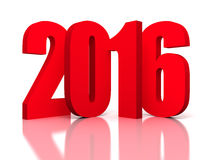 New Year 2016 Red Symbol. 3d Render Illustration Stock Image