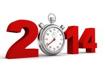 New year 2014 red text numbers with sports watch. 3d Stock Images
