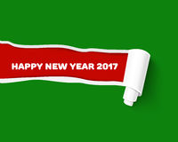 New Year red vector torn edge template and paper. Green teared paper edge  on red background for New Year promo and advertising. Vector torn paper template. Hole Stock Photo