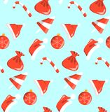 New year red and white objects pattern sweets seamless on blue background stock illustration