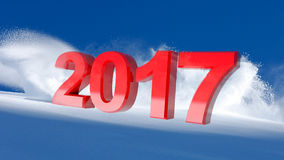 New Year red 2017 on a winter snow background. 3D illustration Royalty Free Stock Image