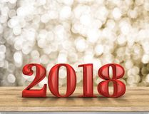 2018 new year red wood number 3d rendering on wood table with. Sparkling gold bokeh wall,leave space for display or montage of text Royalty Free Stock Photography
