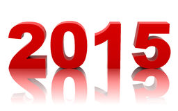 New year 2015 with reflection  on white. Background Stock Photos