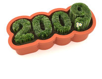 New year-renewal & growth. A planter with the figuers 2009 made of grass Stock Photography