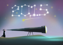 2015 New Year Resolutio or Celebration with woman using telescope Stock Photography